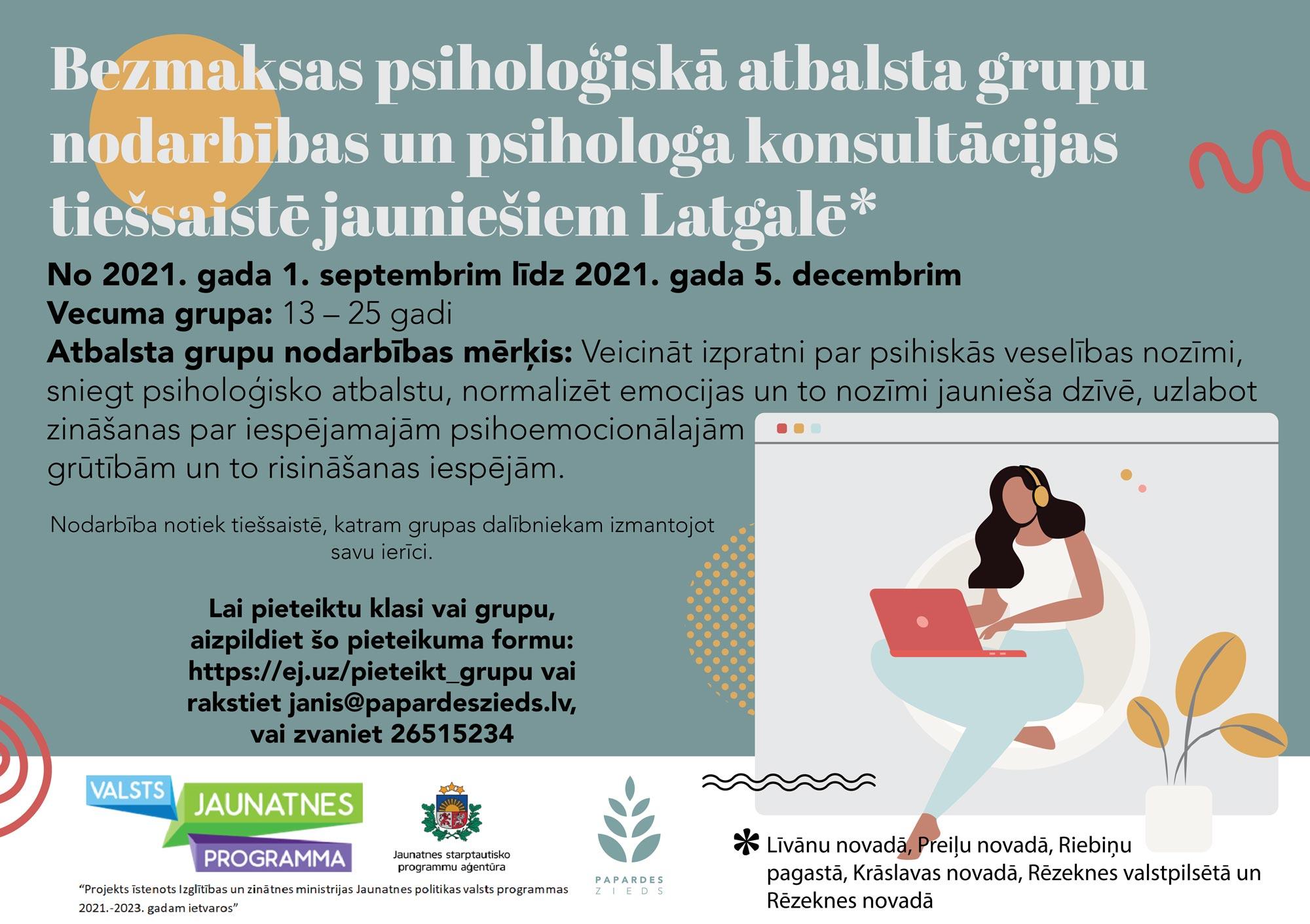 Bezmaksas psiholoģiskā atbalsta grupas un konsultācijas jauniešiem Latgalē